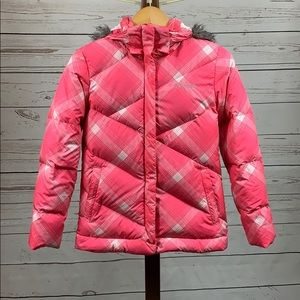 Columbia Pink and White Puffer Snow Jacket